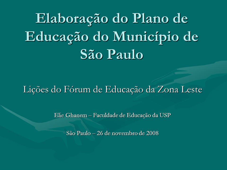 Elaboração do Plano de Educação do Município de São Paulo Lições do Fórum de Educação da Zona Leste Elie Ghanem – Faculdade de Educação da USP São Pau