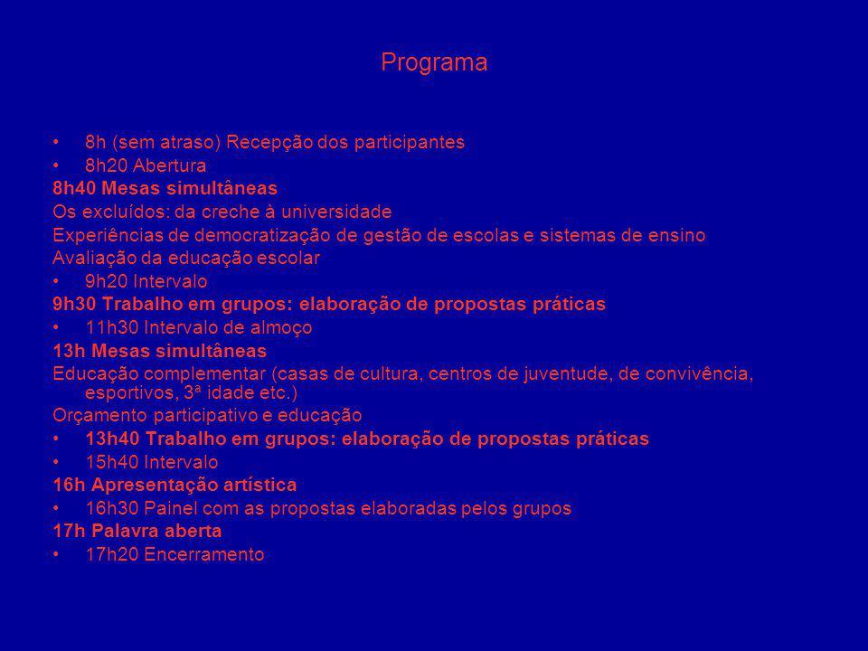 Programa 8h (sem atraso) Recepção dos participantes 8h20 Abertura 8h40 Mesas simultâneas Os excluídos: da creche à universidade Experiências de democr