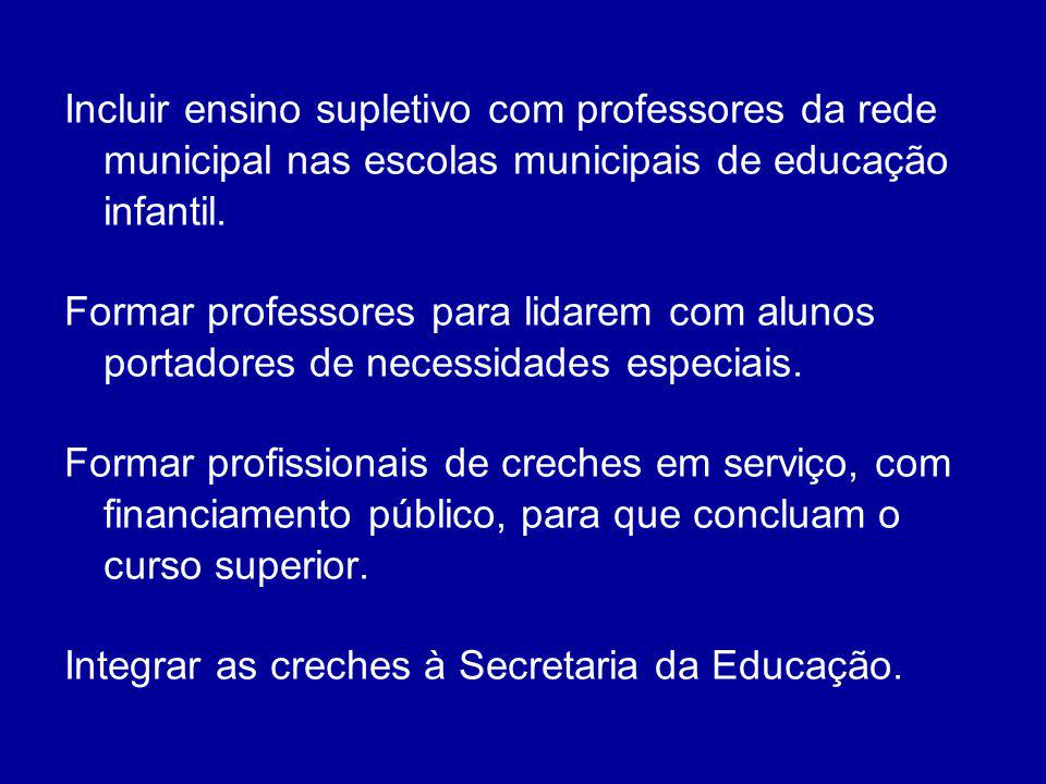 Incluir ensino supletivo com professores da rede municipal nas escolas municipais de educação infantil. Formar professores para lidarem com alunos por