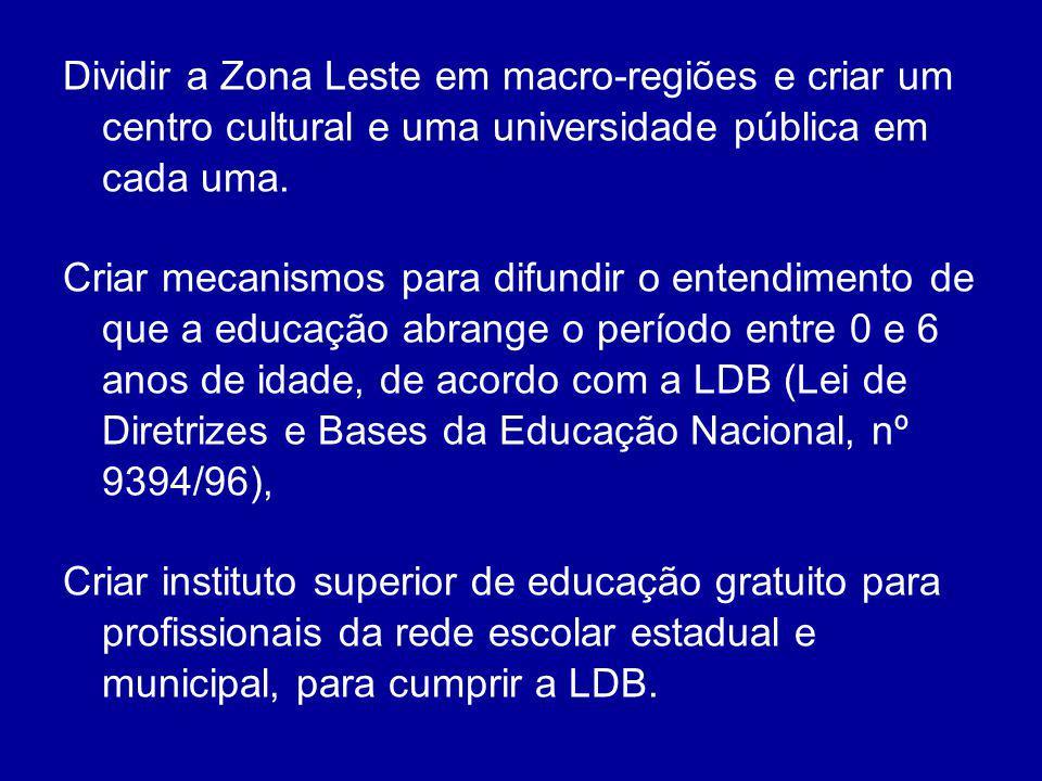Dividir a Zona Leste em macro-regiões e criar um centro cultural e uma universidade pública em cada uma. Criar mecanismos para difundir o entendimento