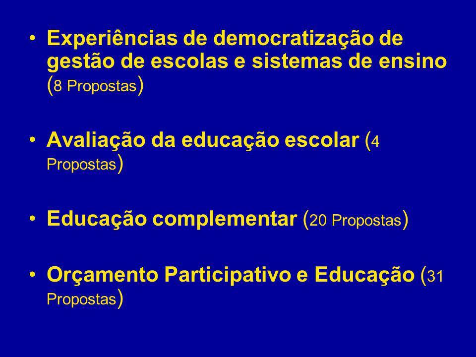 Experiências de democratização de gestão de escolas e sistemas de ensino ( 8 Propostas ) Avaliação da educação escolar ( 4 Propostas ) Educação comple