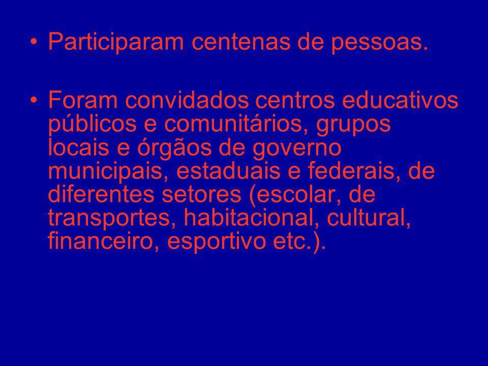 Participaram centenas de pessoas. Foram convidados centros educativos públicos e comunitários, grupos locais e órgãos de governo municipais, estaduais