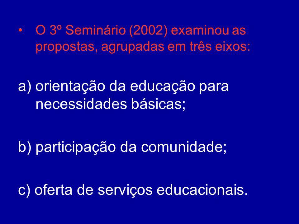 O 3º Seminário (2002) examinou as propostas, agrupadas em três eixos: a)orientação da educação para necessidades básicas; b) participação da comunidad