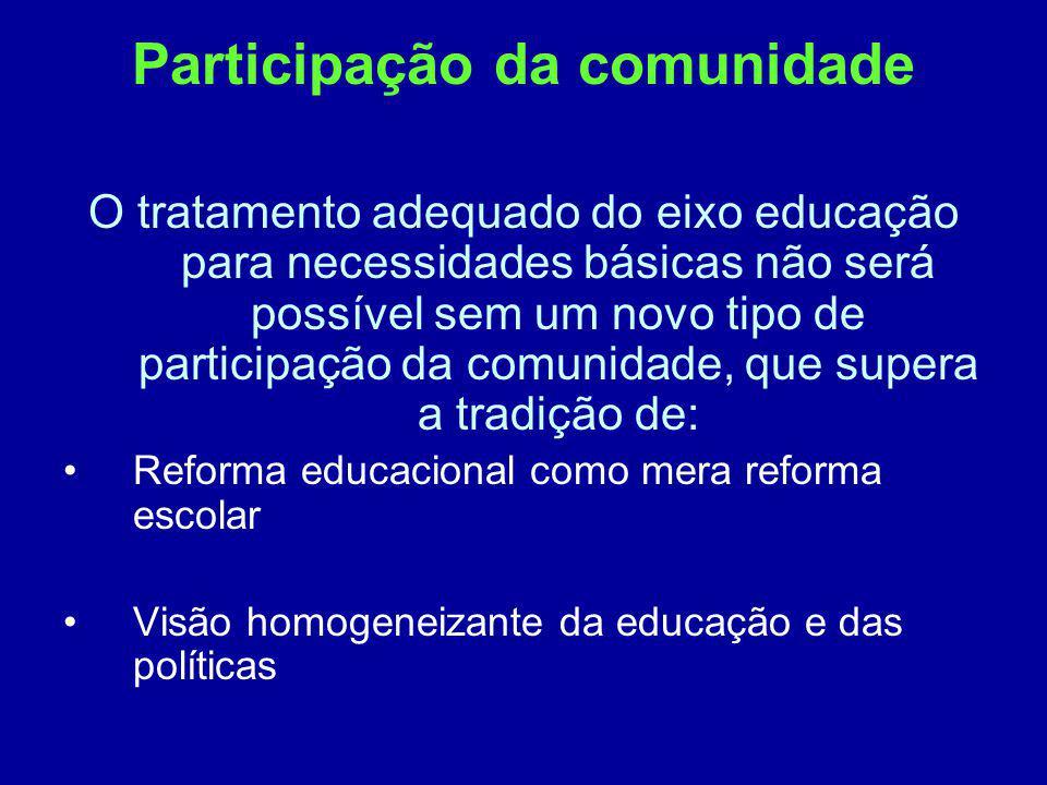 Participação da comunidade O tratamento adequado do eixo educação para necessidades básicas não será possível sem um novo tipo de participação da comu