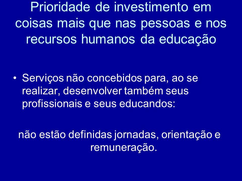 Prioridade de investimento em coisas mais que nas pessoas e nos recursos humanos da educação Serviços não concebidos para, ao se realizar, desenvolver
