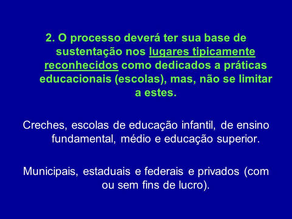 2. O processo deverá ter sua base de sustentação nos lugares tipicamente reconhecidos como dedicados a práticas educacionais (escolas), mas, não se li