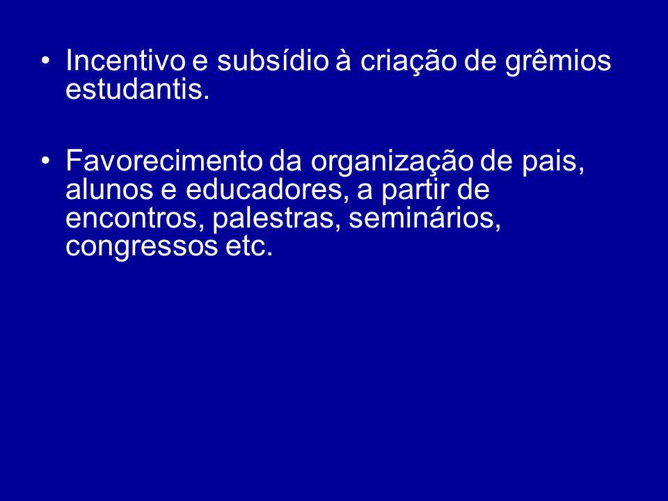 Incentivo e subsídio à criação de grêmios estudantis. Favorecimento da organização de pais, alunos e educadores, a partir de encontros, palestras, sem