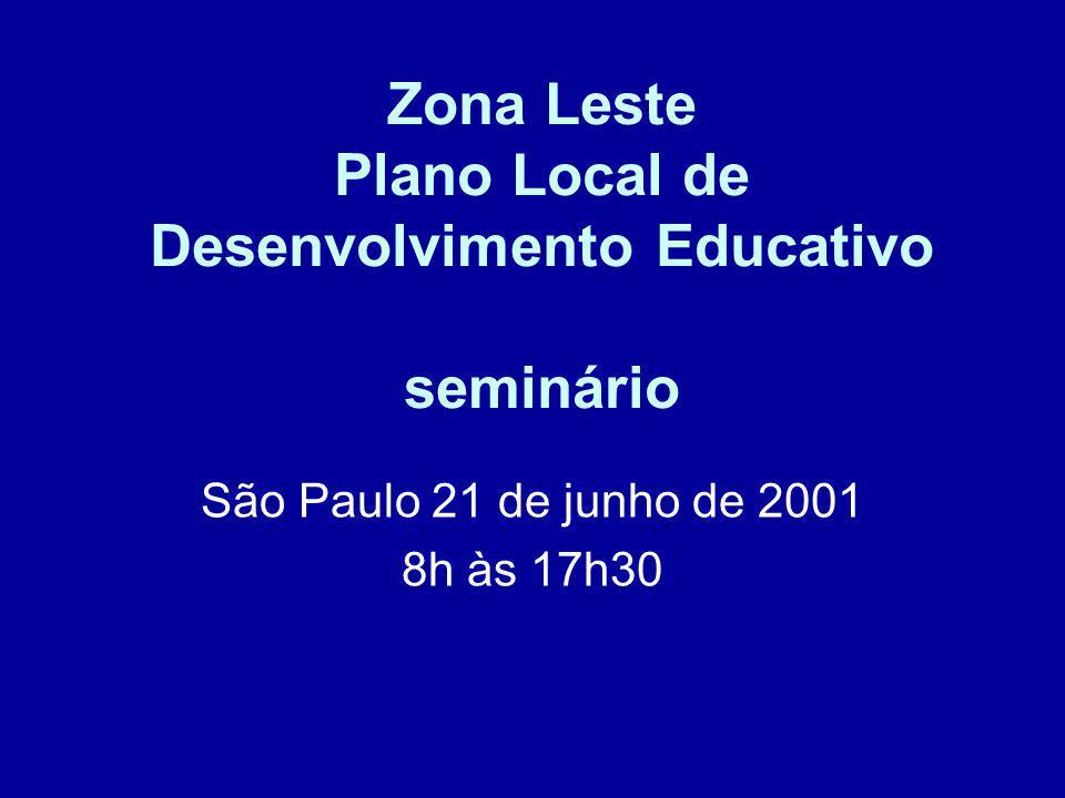 Zona Leste Plano Local de Desenvolvimento Educativo seminário São Paulo 21 de junho de 2001 8h às 17h30