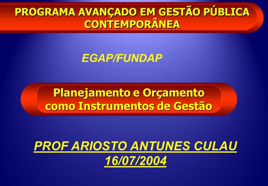 PROGRAMA AVANÇADO EM GESTÃO PÚBLICA CONTEMPORÂNEA Planejamento e Orçamento como Instrumentos de Gestão PROF ARIOSTO ANTUNES CULAU 16/07/2004 EGAP/FUND