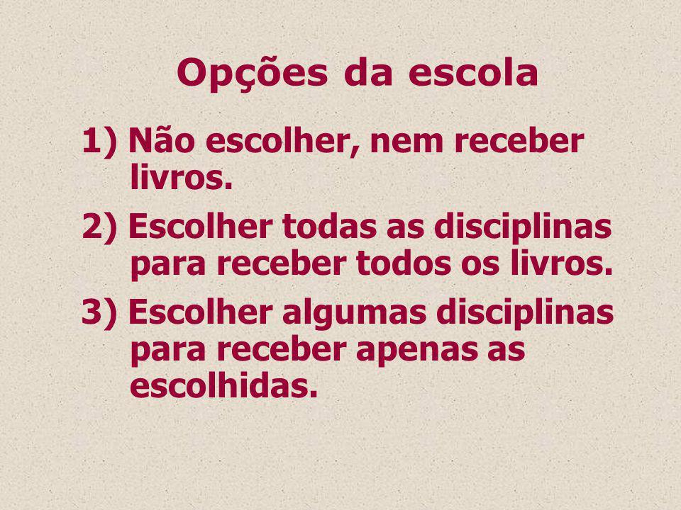 1) Não escolher, nem receber livros.2) Escolher todas as disciplinas para receber todos os livros.