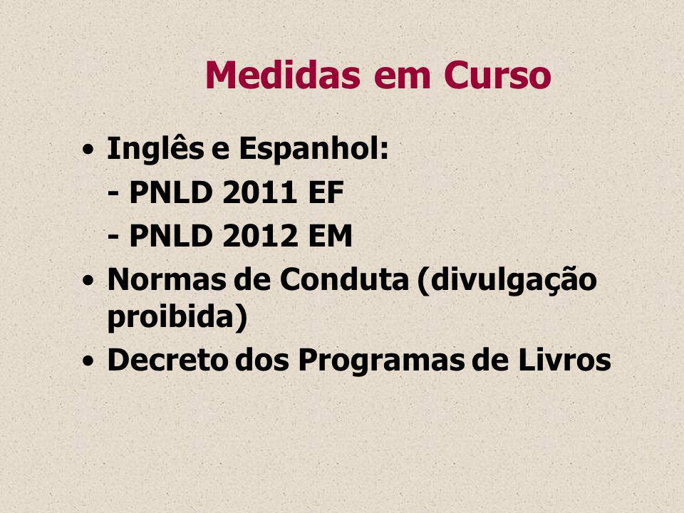 Medidas em Curso Inglês e Espanhol: - PNLD 2011 EF - PNLD 2012 EM Normas de Conduta (divulgação proibida) Decreto dos Programas de Livros