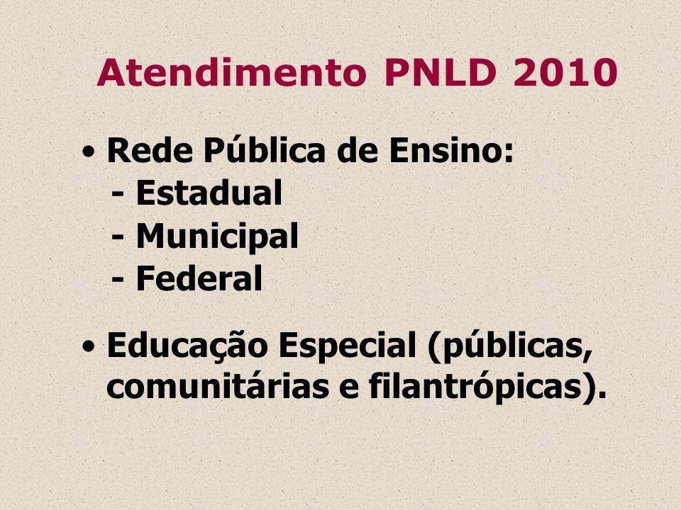 Atendimento PNLD 2010 Rede Pública de Ensino: - Estadual - Municipal - Federal Educação Especial (públicas, comunitárias e filantrópicas).