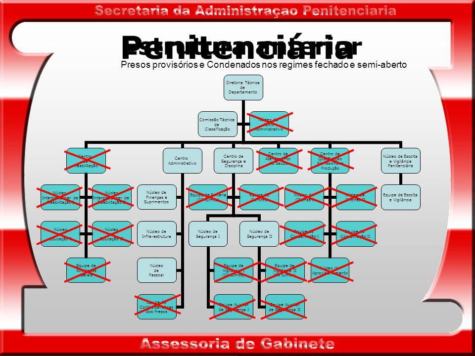 Penitenciária Penitenciária (provisórios/regimes fechado e semi-aberto) - destina-se ao cumprimento de penas privativas de liberdade, em regime fechado e semi-aberto, e à custódia de presos provisórios, do sexo masculino.