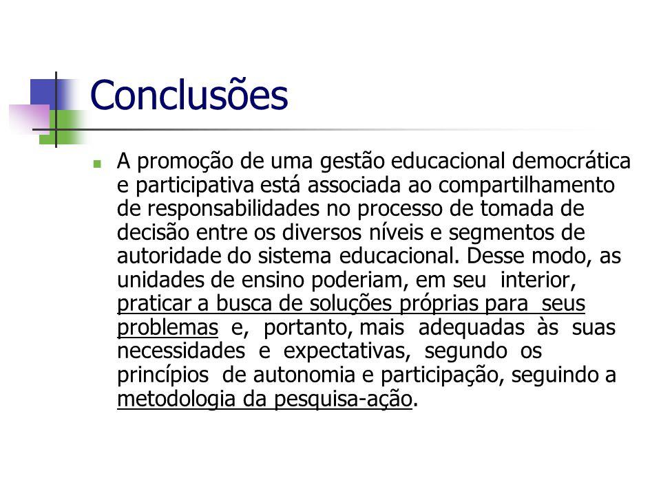 Conclusões A promoção de uma gestão educacional democrática e participativa está associada ao compartilhamento de responsabilidades no processo de tom