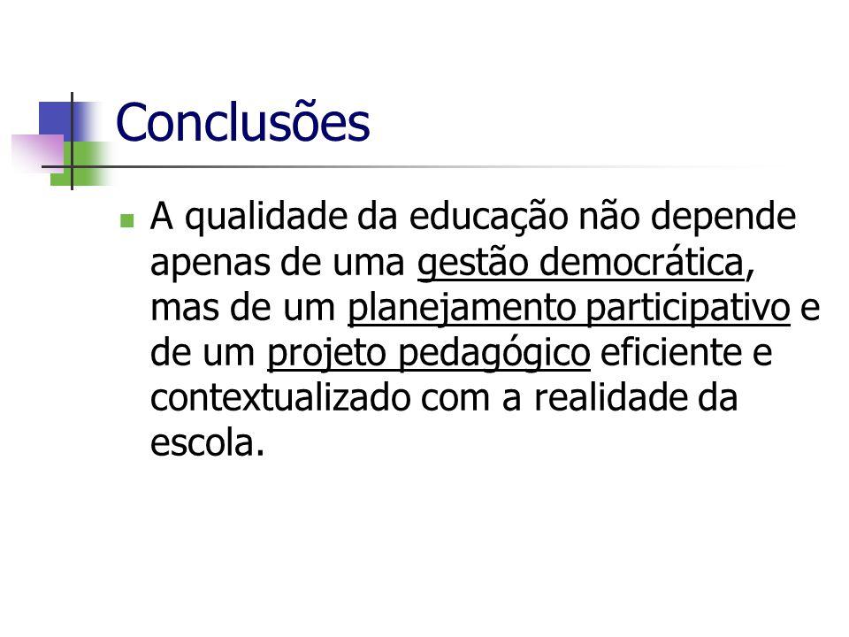 Conclusões A qualidade da educação não depende apenas de uma gestão democrática, mas de um planejamento participativo e de um projeto pedagógico efici