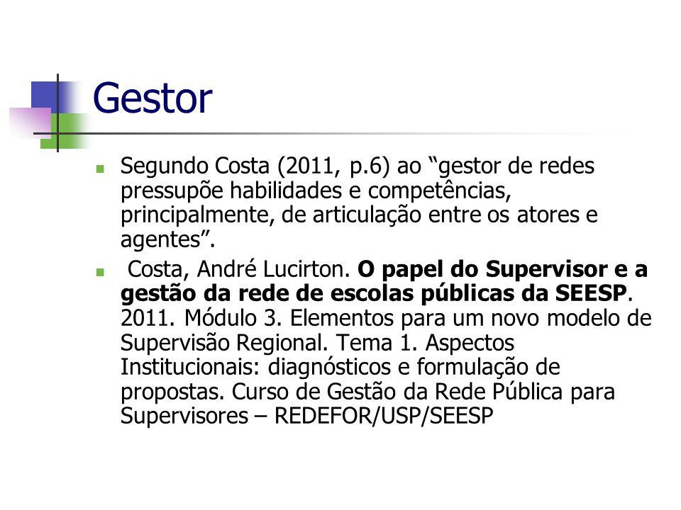 Gestor Segundo Costa (2011, p.6) ao gestor de redes pressupõe habilidades e competências, principalmente, de articulação entre os atores e agentes. Co