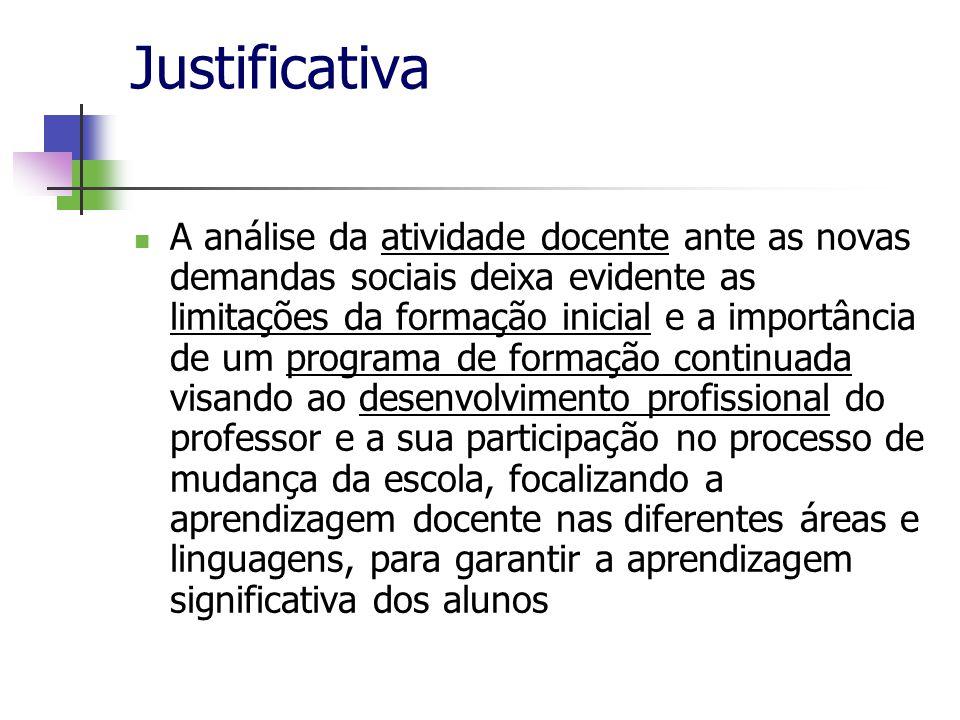 Justificativa A análise da atividade docente ante as novas demandas sociais deixa evidente as limitações da formação inicial e a importância de um pro