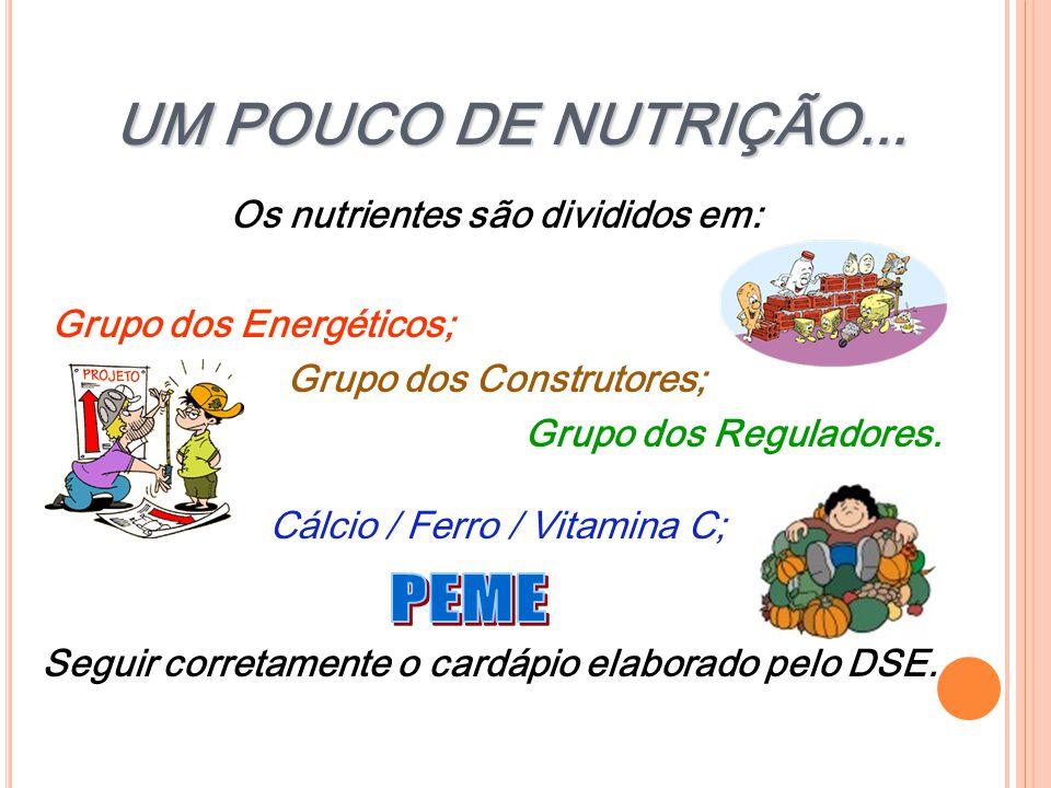 UM POUCO DE NUTRIÇÃO... Os nutrientes são divididos em: Grupo dos Energéticos; Grupo dos Construtores; Grupo dos Reguladores. Cálcio / Ferro / Vitamin