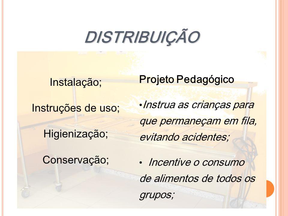 DISTRIBUIÇÃO Instalação; Instruções de uso; Higienização; Conservação; Projeto Pedagógico Instrua as crianças para que permaneçam em fila, evitando ac