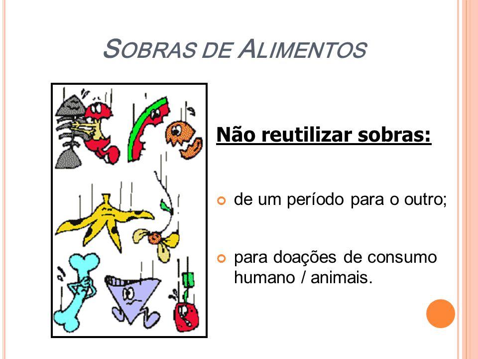 S OBRAS DE A LIMENTOS Não reutilizar sobras: de um período para o outro; para doações de consumo humano / animais.