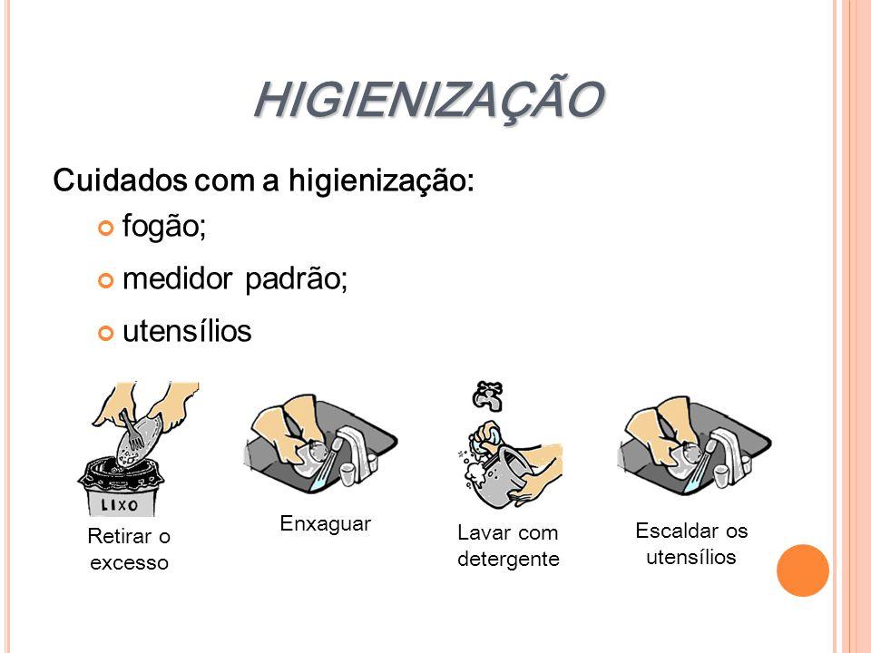 HIGIENIZAÇÃO Cuidados com a higienização: fogão; medidor padrão; utensílios Lavar com detergente Retirar o excesso Enxaguar Escaldar os utensílios