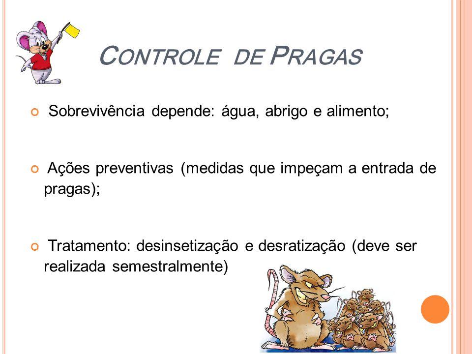 C ONTROLE DE P RAGAS Sobrevivência depende: água, abrigo e alimento; Ações preventivas (medidas que impeçam a entrada de pragas); Tratamento: desinset