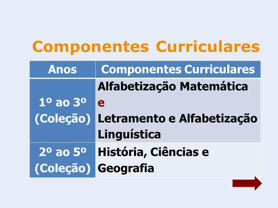 Componentes Curriculares AnosComponentes Curriculares 1º ao 3º (Coleção) Alfabetização Matemática e Letramento e Alfabetização Linguística 2º ao 5º (C