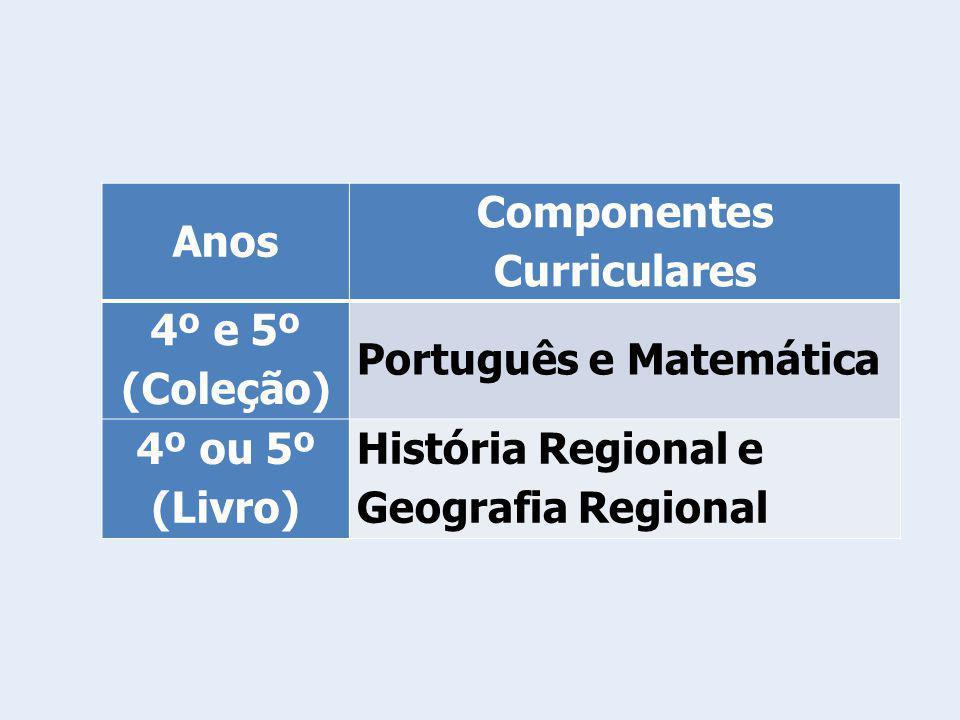 Anos Componentes Curriculares 4º e 5º (Coleção) Português e Matemática 4º ou 5º (Livro) História Regional e Geografia Regional