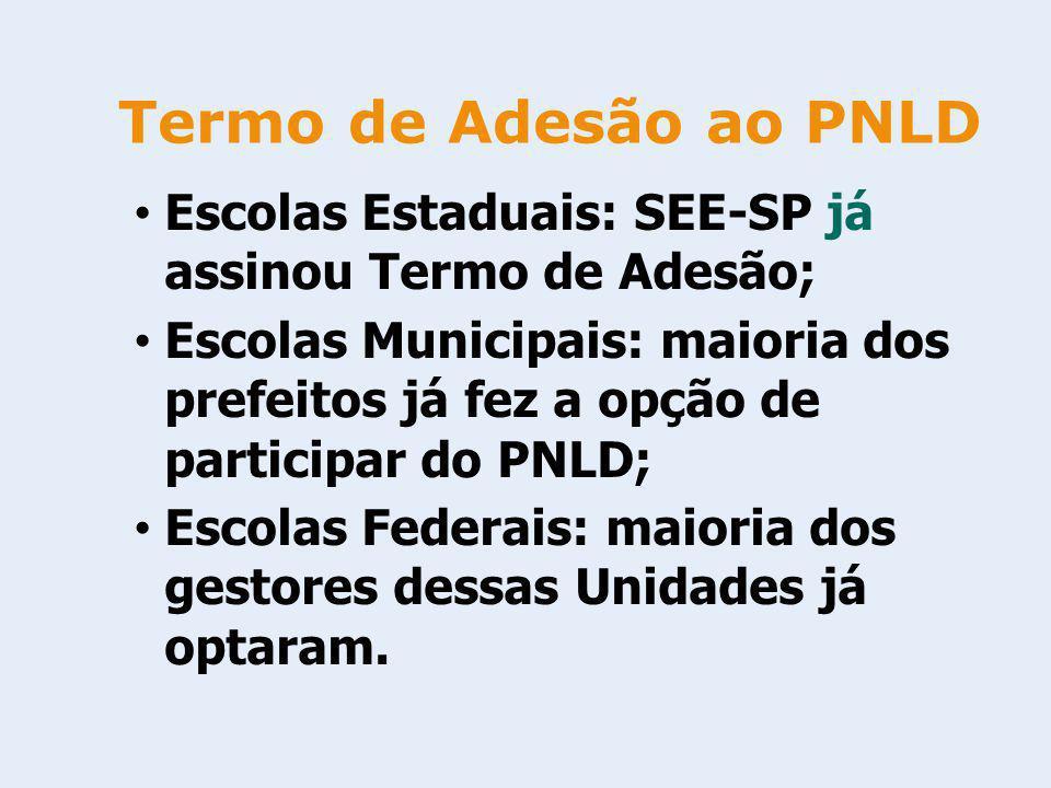 Termo de Adesão ao PNLD Escolas Estaduais: SEE-SP já assinou Termo de Adesão; Escolas Municipais: maioria dos prefeitos já fez a opção de participar d