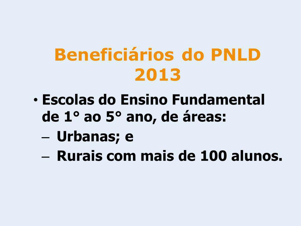 Escolas do Ensino Fundamental de 1° ao 5° ano, de áreas: – Urbanas; e – Rurais com mais de 100 alunos. Beneficiários do PNLD 2013