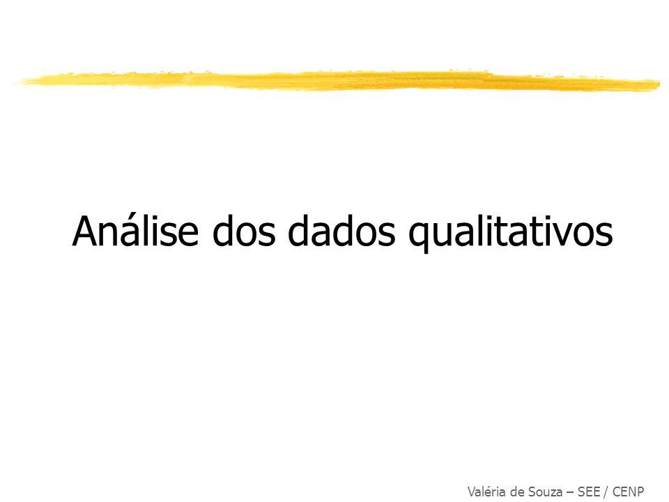 Valéria de Souza – SEE / CENP Análise dos dados qualitativos