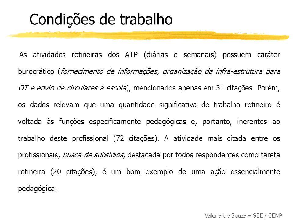 Valéria de Souza – SEE / CENP As atividades rotineiras dos ATP (diárias e semanais) possuem caráter burocrático (fornecimento de informações, organiza