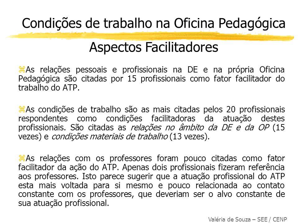 Valéria de Souza – SEE / CENP zAs relações pessoais e profissionais na DE e na própria Oficina Pedagógica são citadas por 15 profissionais como fator