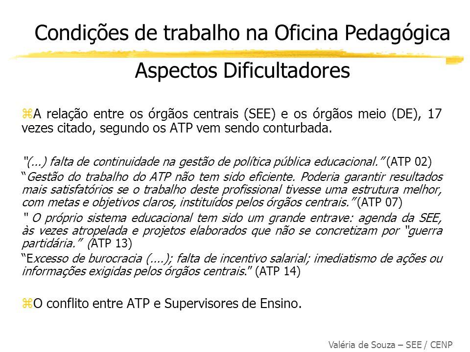 Valéria de Souza – SEE / CENP zA relação entre os órgãos centrais (SEE) e os órgãos meio (DE), 17 vezes citado, segundo os ATP vem sendo conturbada. (