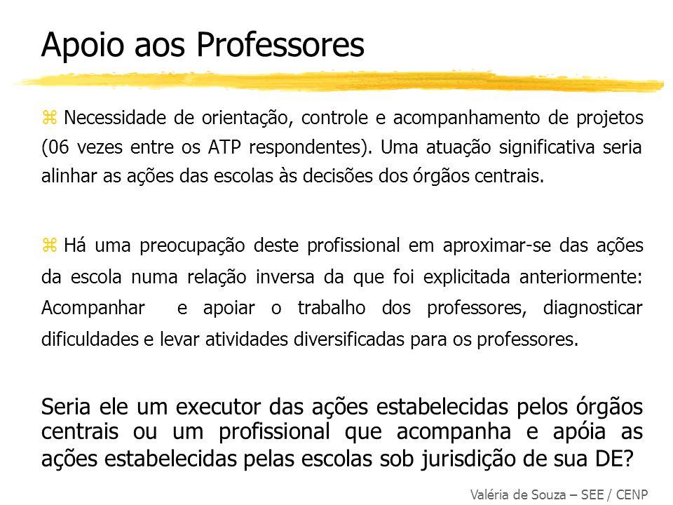 Valéria de Souza – SEE / CENP z Necessidade de orientação, controle e acompanhamento de projetos (06 vezes entre os ATP respondentes). Uma atuação sig