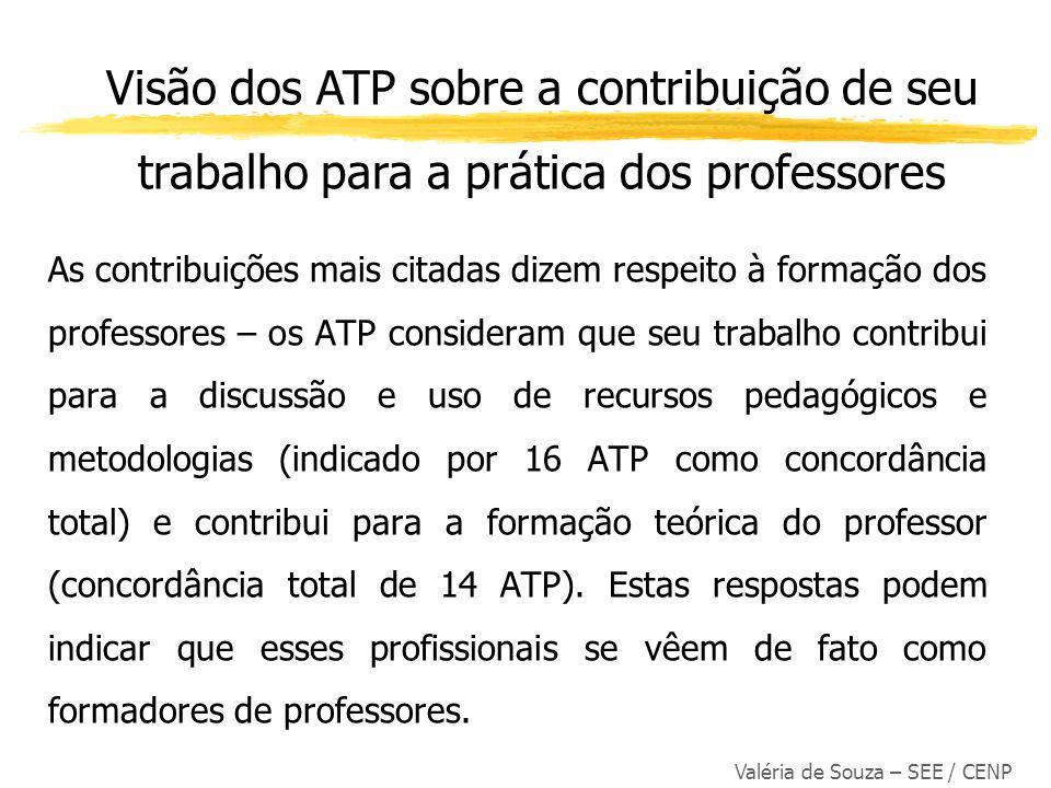 Valéria de Souza – SEE / CENP As contribuições mais citadas dizem respeito à formação dos professores – os ATP consideram que seu trabalho contribui p