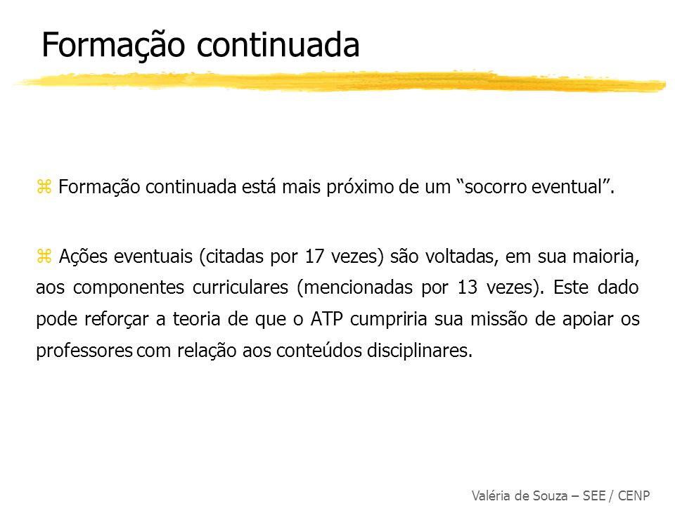 Valéria de Souza – SEE / CENP z Formação continuada está mais próximo de um socorro eventual. Ações eventuais (citadas por 17 vezes) são voltadas, em