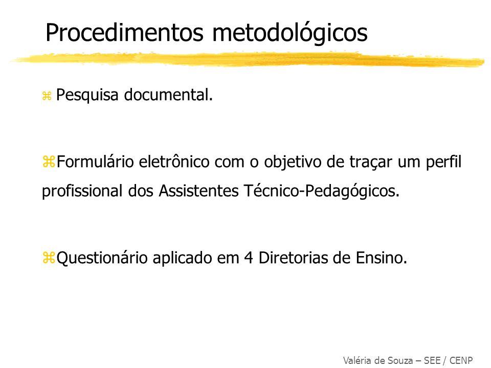 Valéria de Souza – SEE / CENP z Pesquisa documental. Formulário eletrônico com o objetivo de traçar um perfil profissional dos Assistentes Técnico-Ped