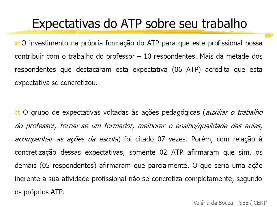 Valéria de Souza – SEE / CENP O investimento na própria formação do ATP para que este profissional possa contribuir com o trabalho do professor – 10 r