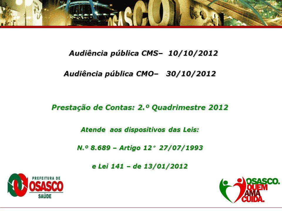 Prefeitura do Município de Osasco Secretaria de Saúde Prestação de Contas – 4° Trimestre 2007 Audiência pública CMS– 10/10/2012 Audiência pública CMS–