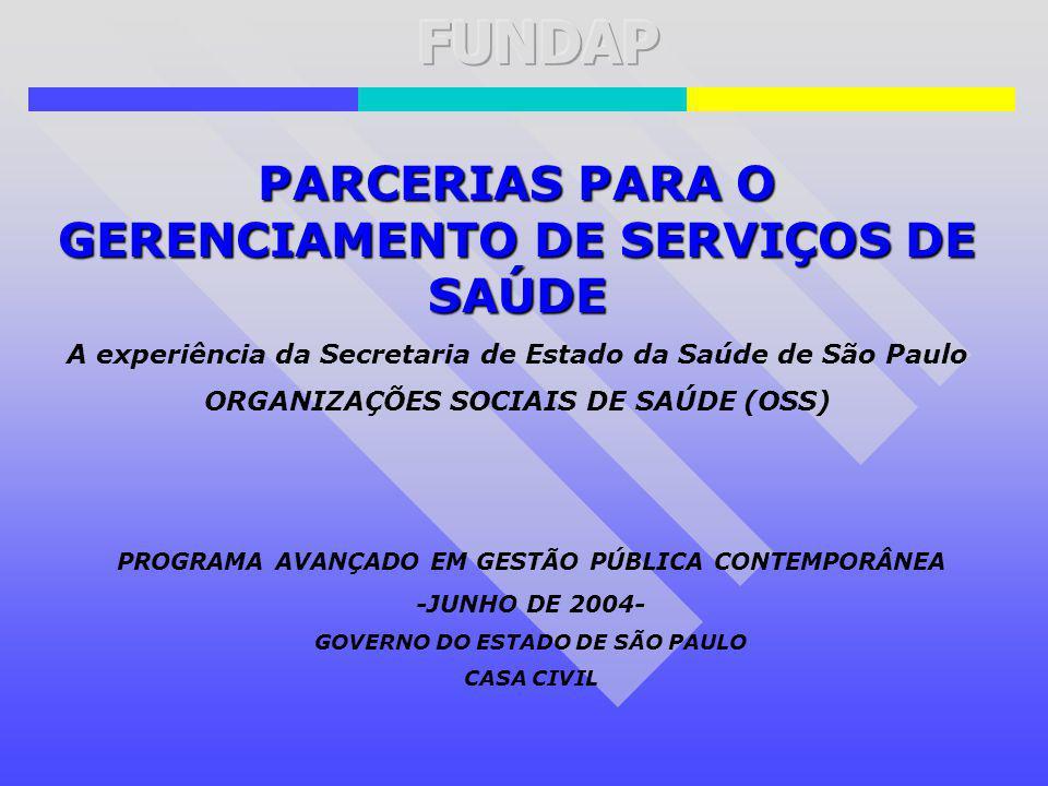 PARCERIAS PARA O GERENCIAMENTO DE SERVIÇOS DE SAÚDE A experiência da Secretaria de Estado da Saúde de São Paulo ORGANIZAÇÕES SOCIAIS DE SAÚDE (OSS) PR