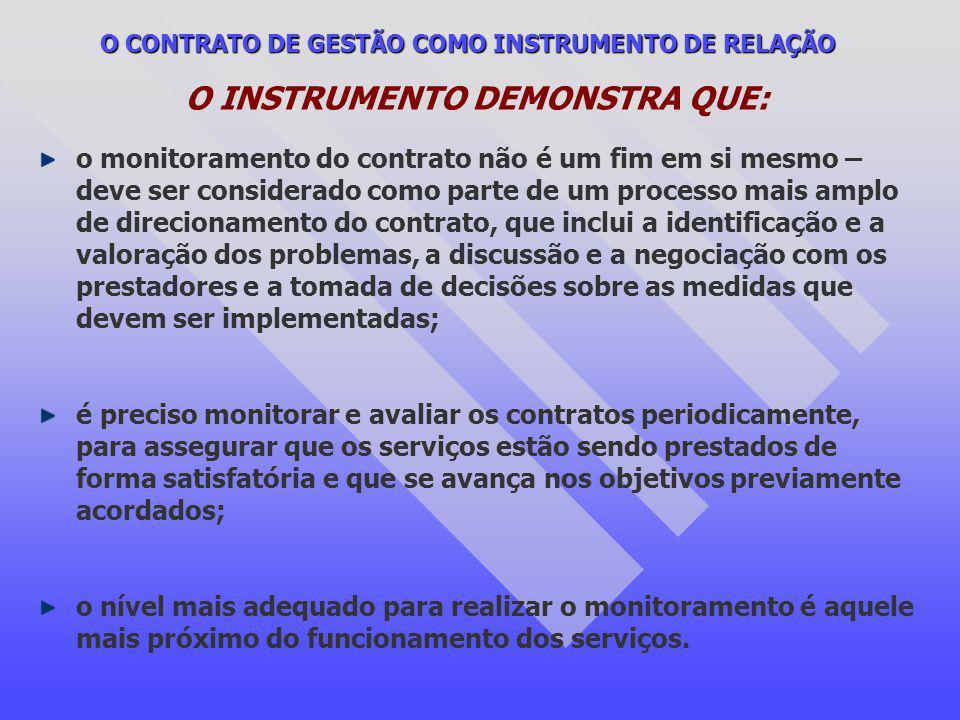 O CONTRATO DE GESTÃO COMO INSTRUMENTO DE RELAÇÃO O INSTRUMENTO DEMONSTRA QUE: o monitoramento do contrato não é um fim em si mesmo – deve ser consider