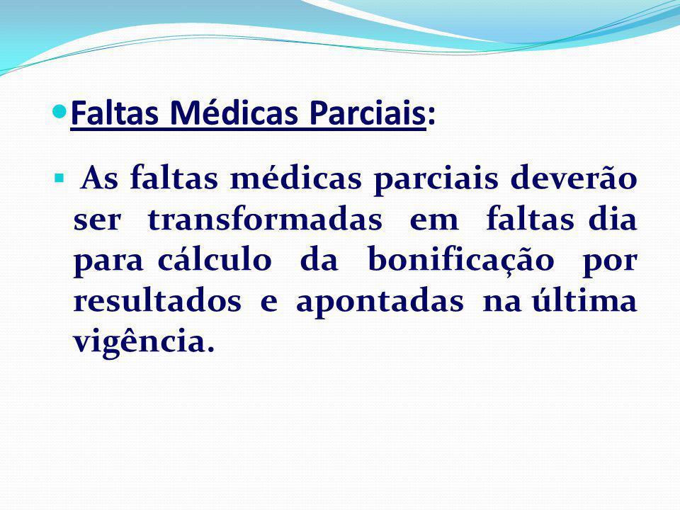 As faltas médicas parciais deverão ser transformadas em faltas dia para cálculo da bonificação por resultados e apontadas na última vigência.