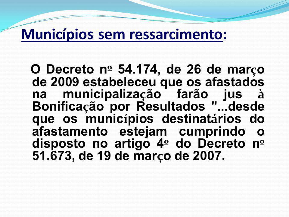 O Decreto n º 54.174, de 26 de mar ç o de 2009 estabeleceu que os afastados na municipaliza ç ão farão jus à Bonifica ç ão por Resultados ...desde que os munic í pios destinat á rios do afastamento estejam cumprindo o disposto no artigo 4 º do Decreto n º 51.673, de 19 de mar ç o de 2007.