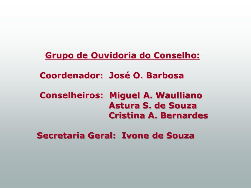 Grupo de Ouvidoria do Conselho: Coordenador: José O.