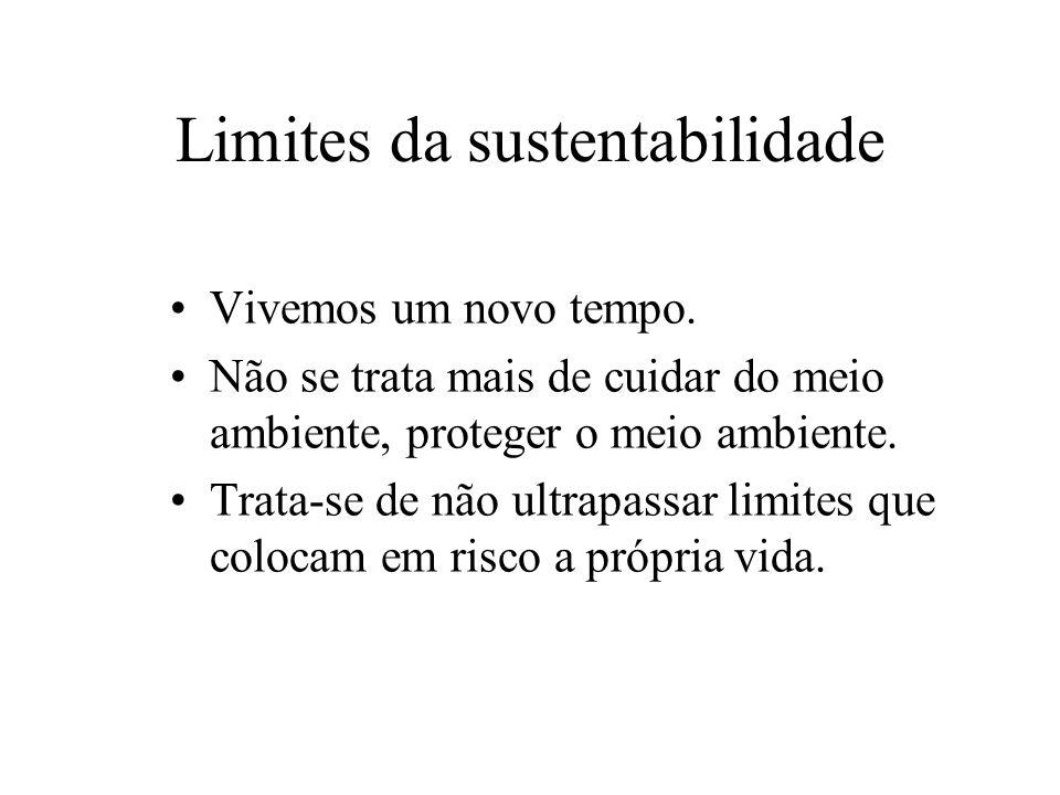 Limites da sustentabilidade Vivemos um novo tempo.