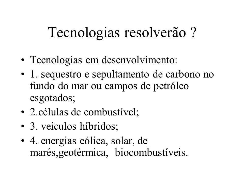 Tecnologias resolverão .Tecnologias em desenvolvimento: 1.