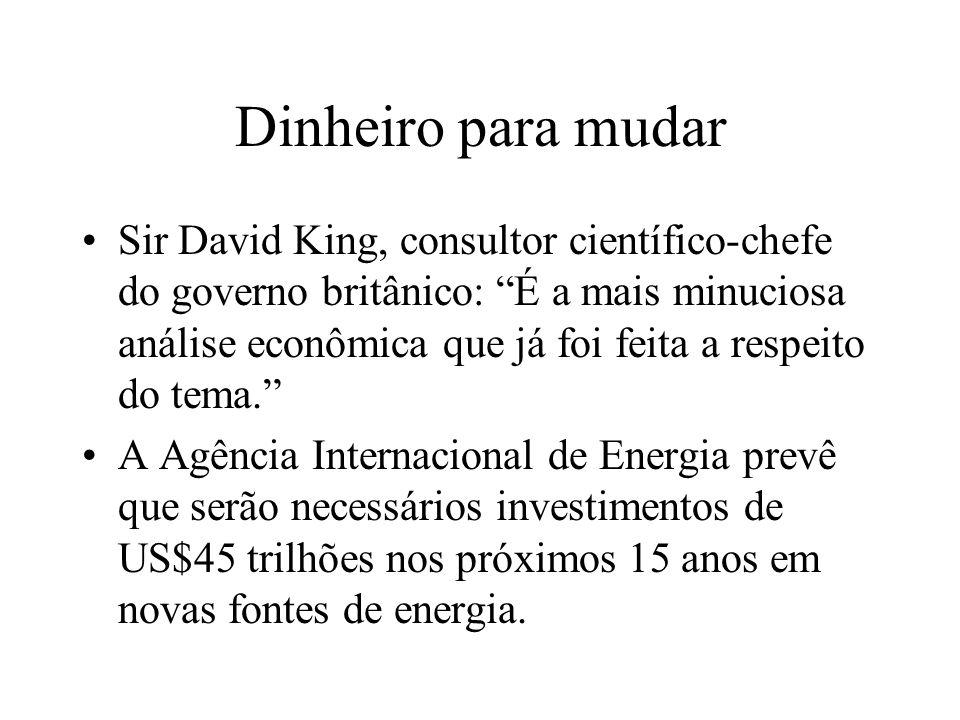 Dinheiro para mudar Sir David King, consultor científico-chefe do governo britânico: É a mais minuciosa análise econômica que já foi feita a respeito do tema.