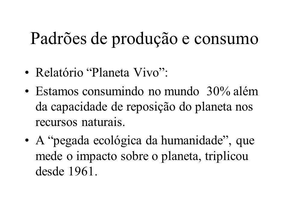 Padrões de produção e consumo Relatório Planeta Vivo: Estamos consumindo no mundo 30% além da capacidade de reposição do planeta nos recursos naturais.