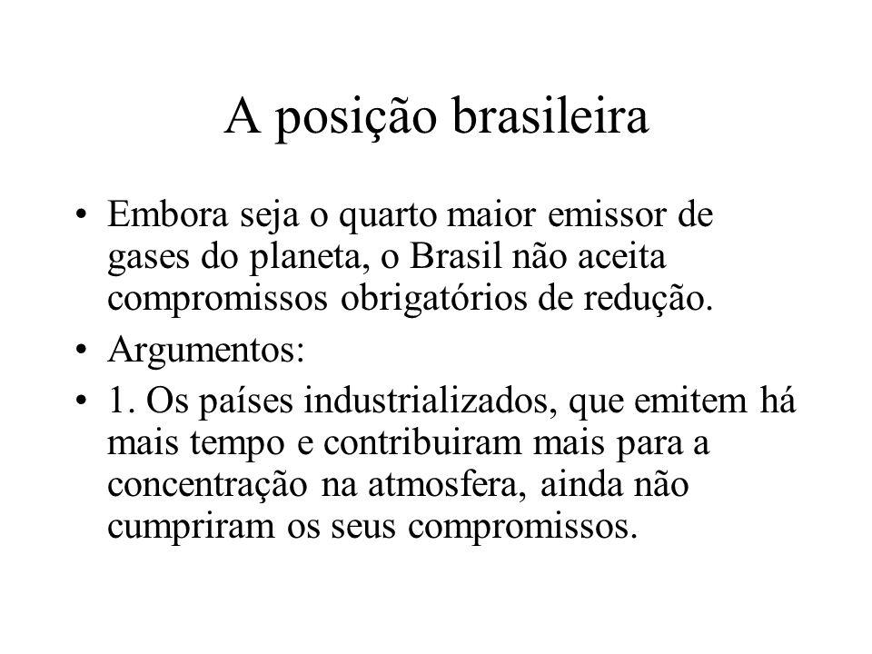 A posição brasileira Embora seja o quarto maior emissor de gases do planeta, o Brasil não aceita compromissos obrigatórios de redução.